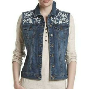 Ruff Hewn Embroidered Denim Vest New With Tags